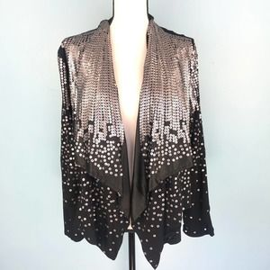 NWT Black Sequin Waterfall Cardigan Rodeo Drive